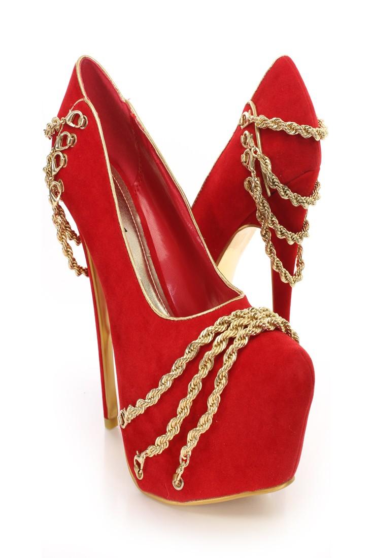Red Gold Chain Decor Platform Pumps @ Amiclubwear Heel Shoes online store sales:Stiletto Heel Shoes,High Heel Pumps,Womens High Heel Shoes,Prom Shoes,Summer Shoes,Spring Shoes,Spool Heel,Womens Dress Shoes,Prom Heels,Prom Pumps,High Heel Sandals,Cheap Dre