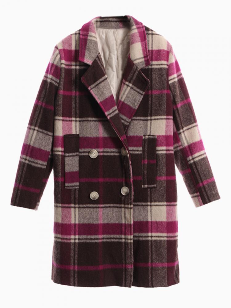 Purple Plaid Woolen Padded Lapel Coat | Choies