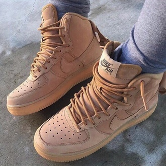 shoes nike nike shoes nike air force 1 beige sneakers nike sneakers suede brown leather boots af1 tan nude sneakers high top sneakers nikes air force 1s wheat classics timberlands tennisshoes cute nike hightops brown pink