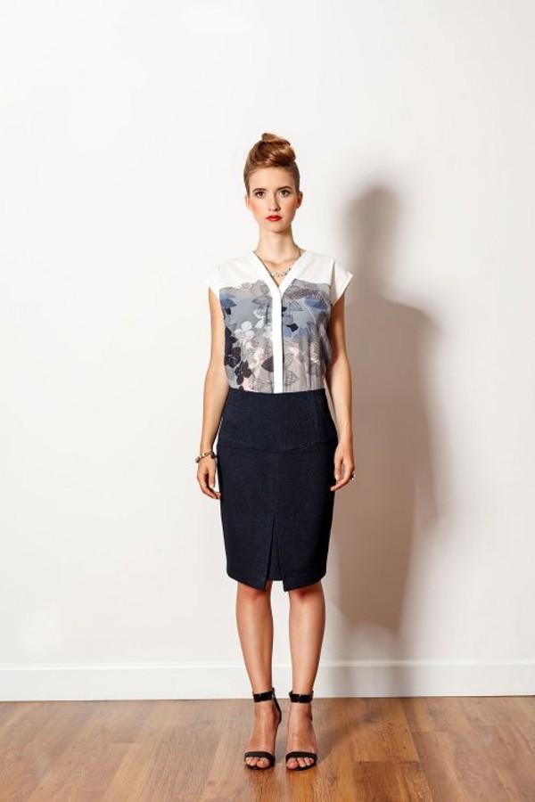 skirt dark blue pencil skirt high waisted skirt