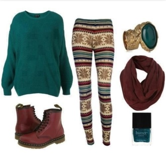 pants fall outfits winter outfits sweater leggings green sweater pattern leggings aztec aztec leggings scarf brown scarf brown snowflake leggings boots ring nail polish drmartens shoes printed leggings sweatshirt