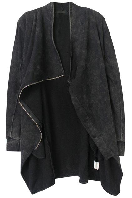 ROMWE | ROMWE Asymmetric Zippered Pocketed Grey Coat, The Latest Street Fashion