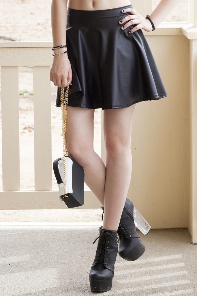 Pleather Skater Skirt - Black | Obsezz