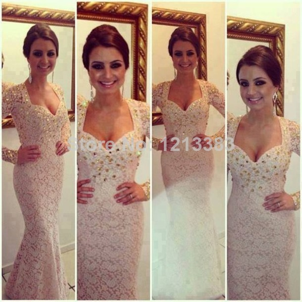 2014 Modern Couture Fast Shipping Beige Mermaid Evening Pageant Dresses Excellent Corset Beaded Lace Long Sleeve Prom Dresses-in Prom Dresses from Apparel & Accessories on Aliexpress.com