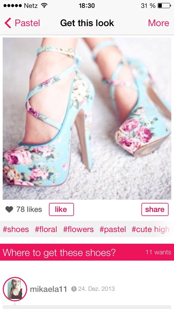 shoes pastel blue high heels flowers floral sexy shoes