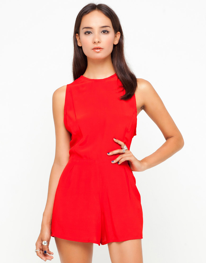 Buy Motel Lomas Sleeveless Playsuit in Red at Motel Rocks