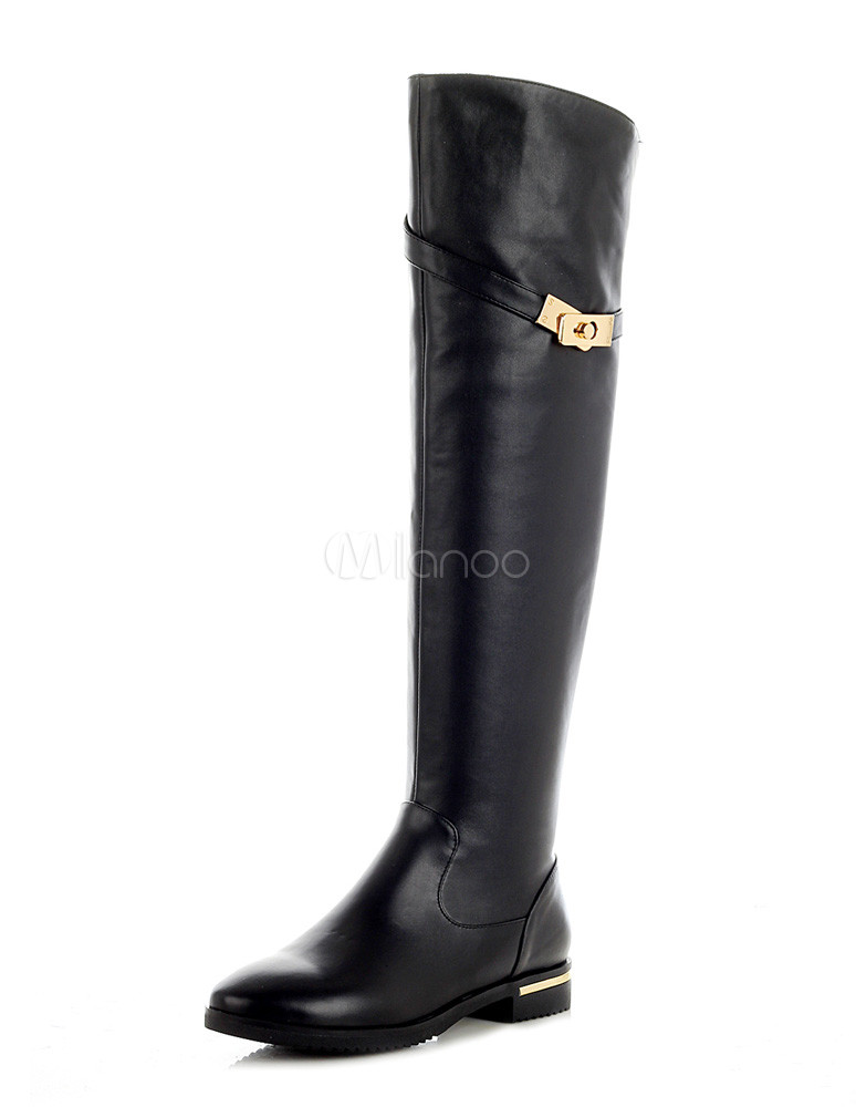 Sexy Black Round Toe Cowhide Over the Knee Boots for Women  - Milanoo.com