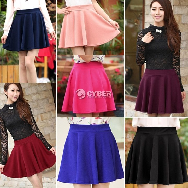 2014 Women Candy Color Stretch Waist Plain Skater Flared Pleated Mini Skirt New | eBay