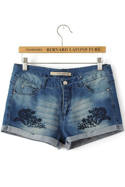 KCLOTH Classic Denim Short With Crochet Floral Printed