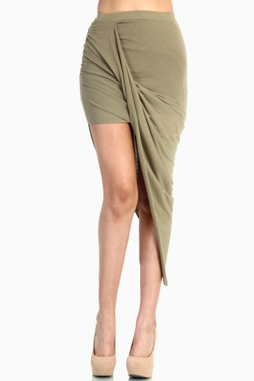 LoveMelrose.com From Harry & Molly | Overlapped Draped Skirt - Olive