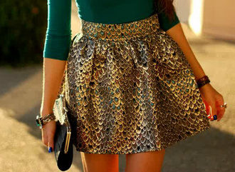skirt mermaid structured skirt pleats metallic cute peacock skater skirt