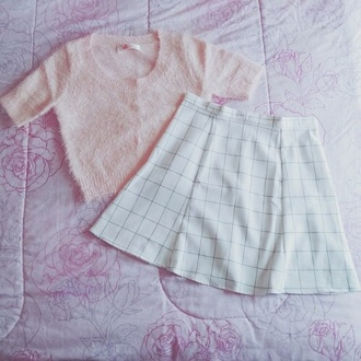 skirt circle skirt baby pink top pullover fuzzy sweater pastel