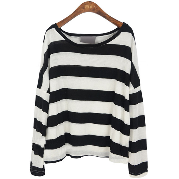 Black White Stripes Batwing Long Sleeve Knitted T-shirt - Polyvore