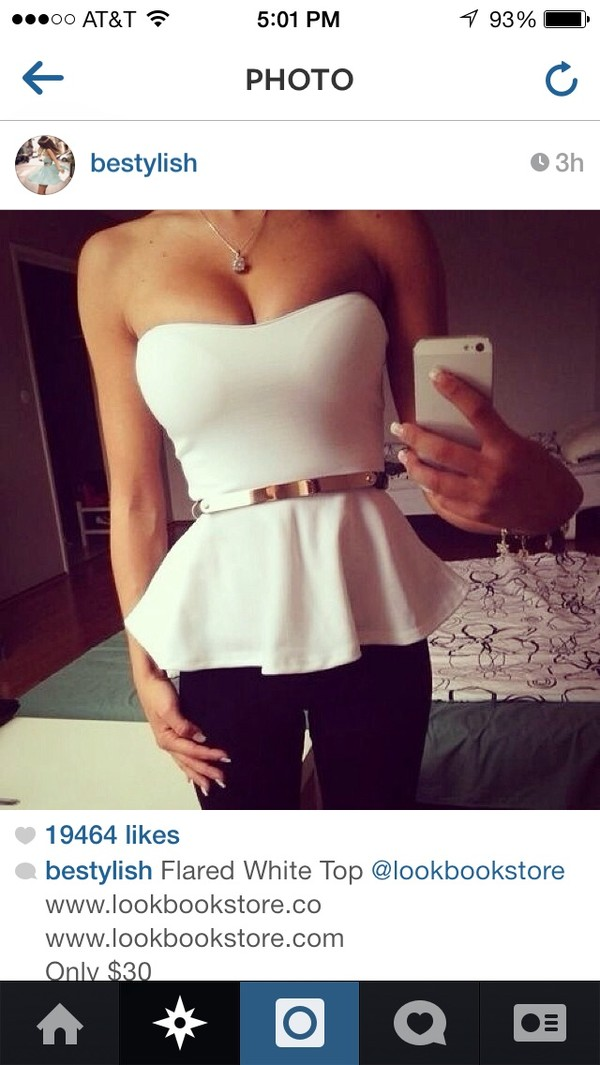shirt white shirt gold belt tank top top white top