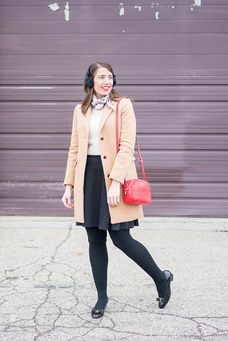 styleontarget blogger scarf coat sweater bag skirt shoes winter outfits beige coat red bag