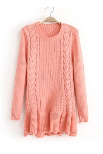 Beautiful Hem Twist Braid Sweater [FKBJ10307]- US$22.99 - PersunMall.com