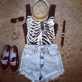 t-shirt top summer shorts jeans sunglasses vans black bones jumpsuit skeleton