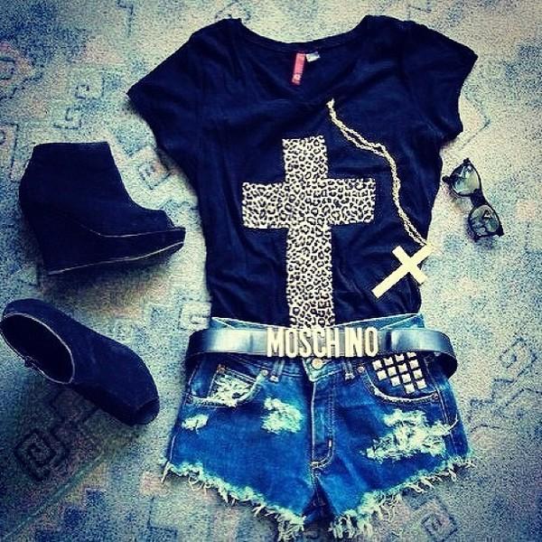 shirt cross leopard print wedges shorts cross necklace shoes belt