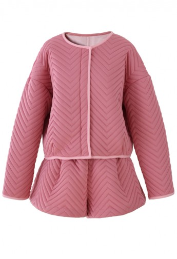 Zig Zag Quilted Pink Jacket and Short Set  - Retro, Indie and Unique Fashion