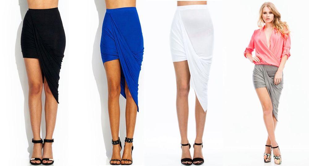 S 3XL Party Night Cat Plain Draped Up Asymmetrical Sexy Body Curve Skirt   eBay