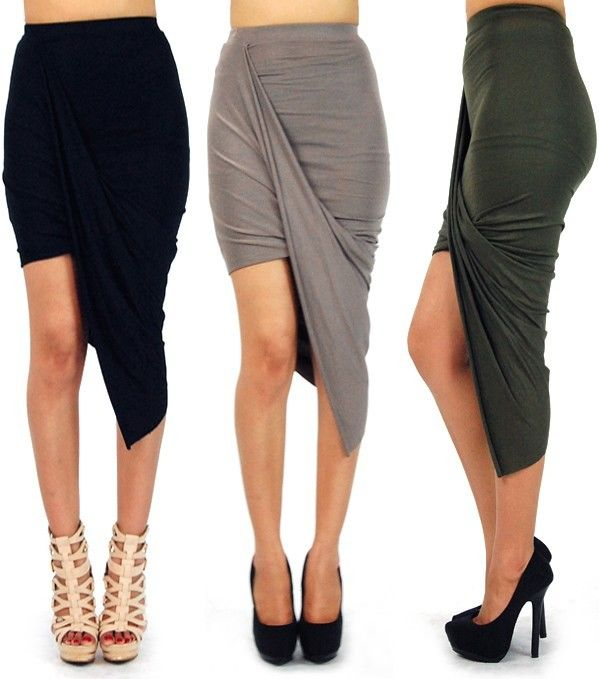 Asymmetrical Solid High Low Wrapped Elastic Waist Draped Cut Out Skirt 10083s | eBay
