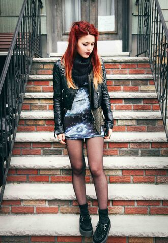 le happy blogger scarf galaxy print perfecto creepers