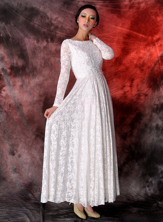 white lace evening dresswedding dressparty dresslong by dongli