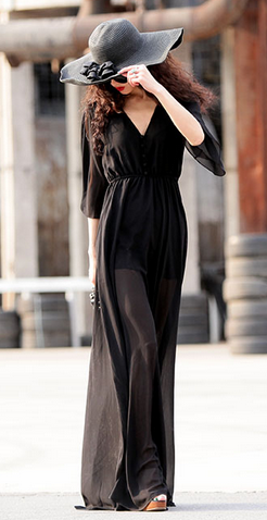 Black Chiffon Long Dress - Juicy Wardrobe
