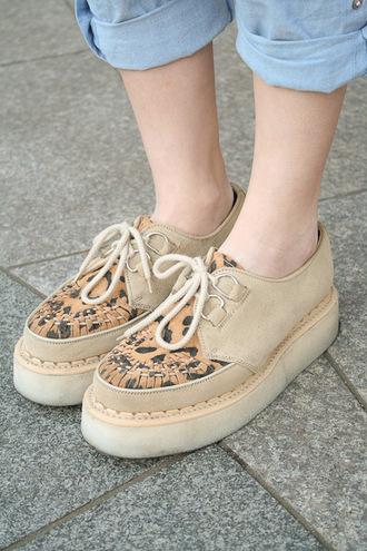 shoes leopard print beige creepers laced flats platform shoes flatform