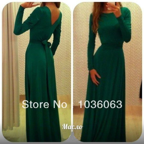 2014 Facebook Trends Long Sleeve High Neck Emerald Green Back Open Evening Dresses Special Women Event Prom Gowns 2014-in Evening Dresses from Apparel & Accessories on Aliexpress.com