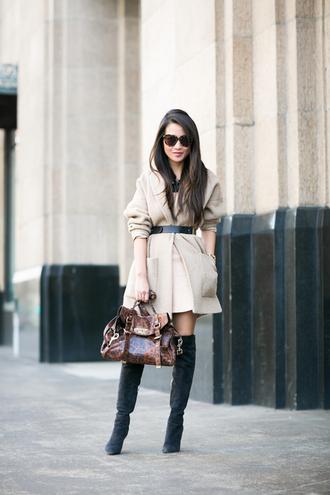 wendy's lookbook blogger coat sunglasses classy medium-size belt black boots satchel bag