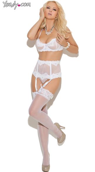 Elegant Bra and Garter Set, Elegant Bra with Garters and G String Set
