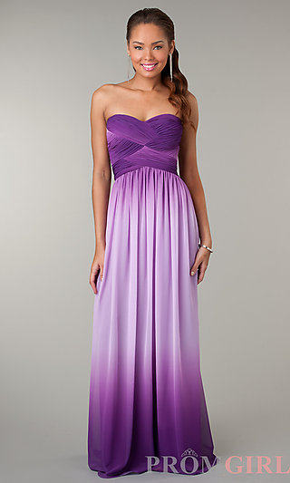 Prom Dresses, Celebrity Dresses, Sexy Evening Gowns - PromGirl: Strapless Sweetheart Purple Ombre Dress
