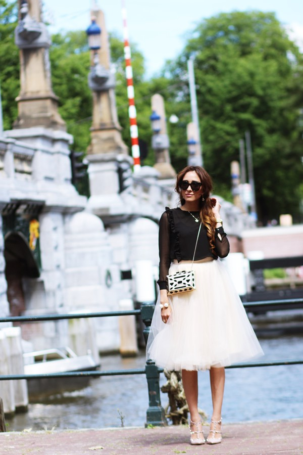 preppy fashionist sunglasses blouse skirt shoes bag jewels
