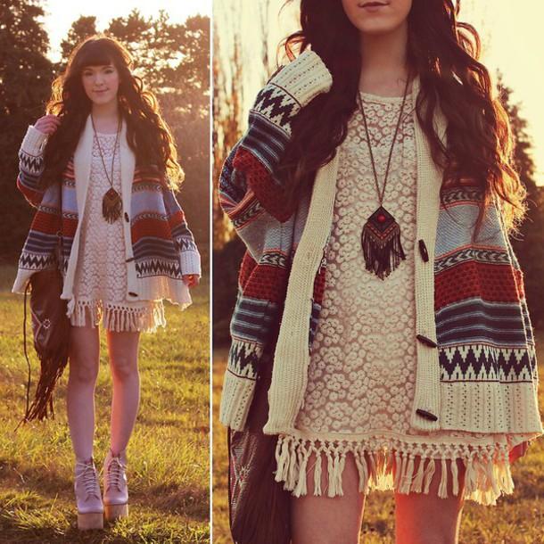 sweater boho indie western print tribal cardigan dress jewels shoes