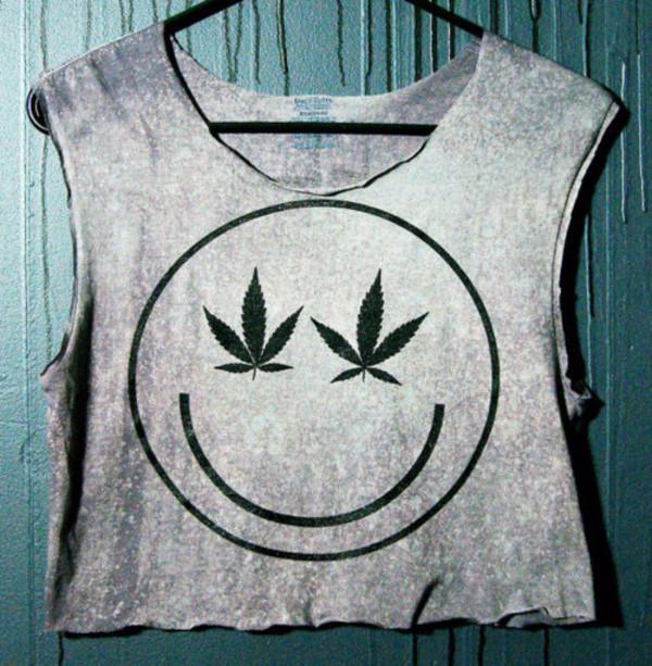 marijuana smiley crop tops weed tank top t-shirt shirt