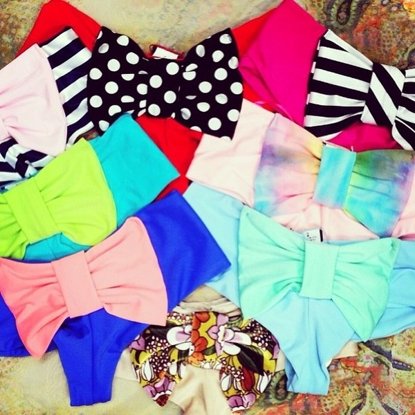 swimwear bow colorful swimwear cute swimsuit tumblr swimwear