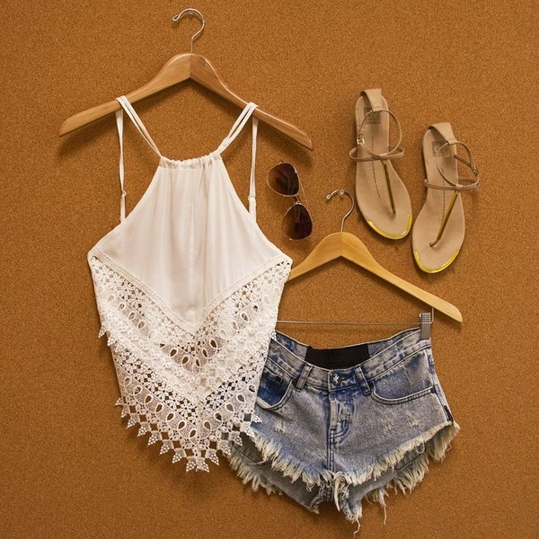 blouse white top summer look shorts jeans lace shoes
