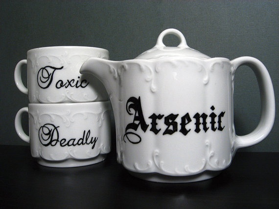 Teacup  Victorian Inspired  Hand Painted Tea Set  by BurkeHareCo