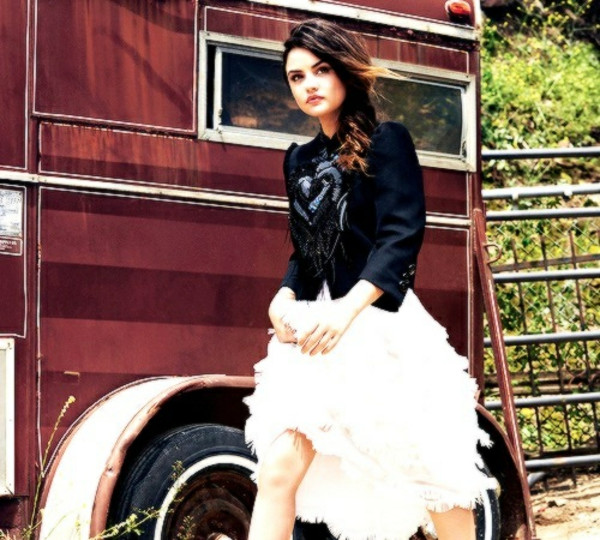 lucy hale aria montgomery black jacket black blazer white dress ruffle