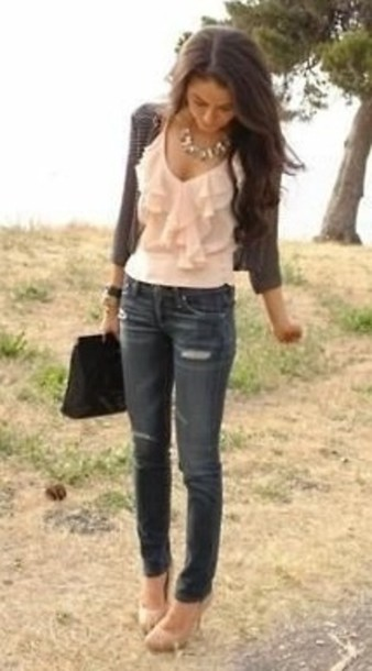 blouse pink blouse pink blouse ruffle peach ruffle chiffon gorgeous casual fancy outfit stripes bag heels jeans cardigan shoes top fall outfits sweater pretty girly style model tank top frill jacket shirt ruffled top cute pinterest ripped jeans statement necklace