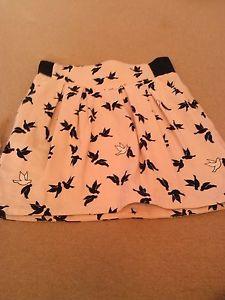 H&M pink skirt with black & white birds size 12   eBay