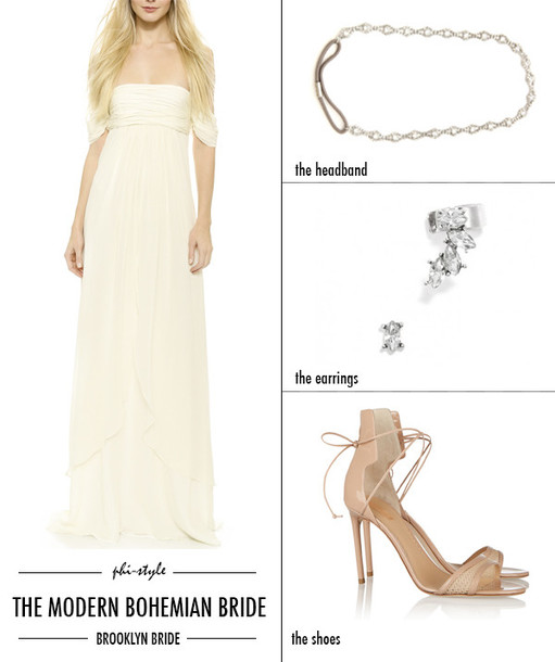 bklyn bride blogger off the shoulder dress wedding accessories nude high heels wedding dress boho chic