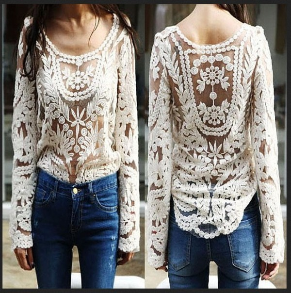 shirt lace hollow out top long sleeves floral