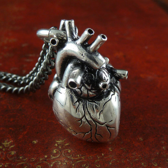 Anatomical Heart Necklace Antique Silver Anatomical by LostApostle