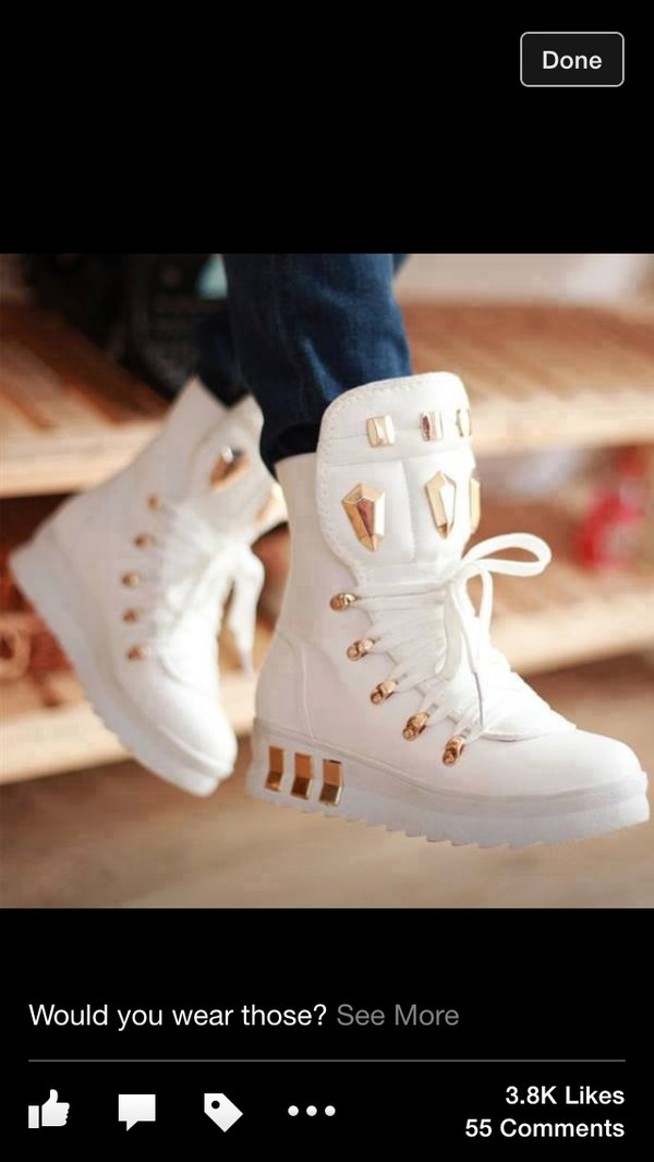 shoes high top sneakers white gold gold studs