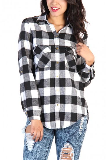 LoveMelrose.com From Harry & Molly   Plaid Button Up Shirt - Black / White