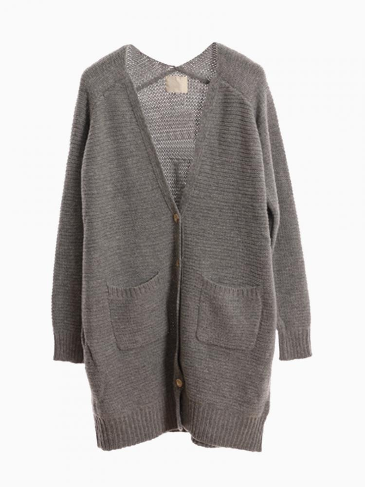 Gray Sloucgh Pocket Cardigan | Choies