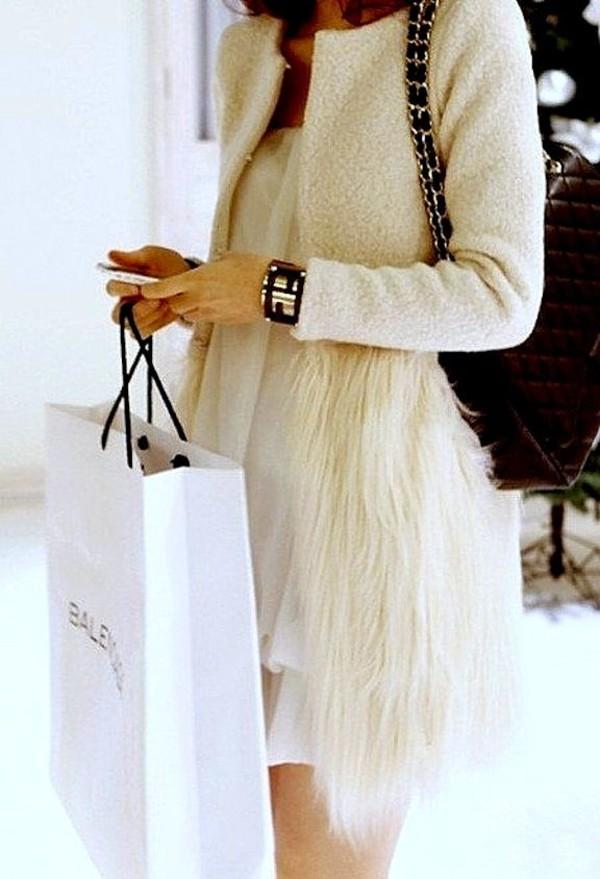 coat white white coat feathers winter coat fur