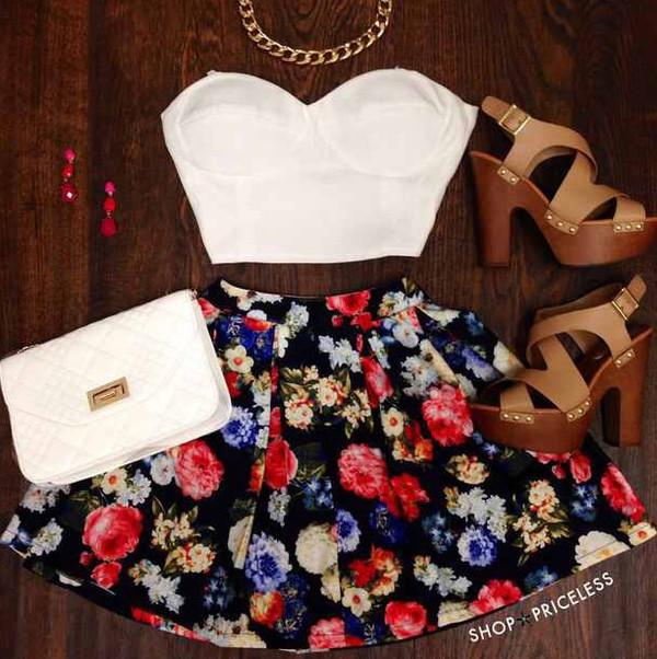 skirt floral skirt white crop tops top floral skater skirt shoes bag floral